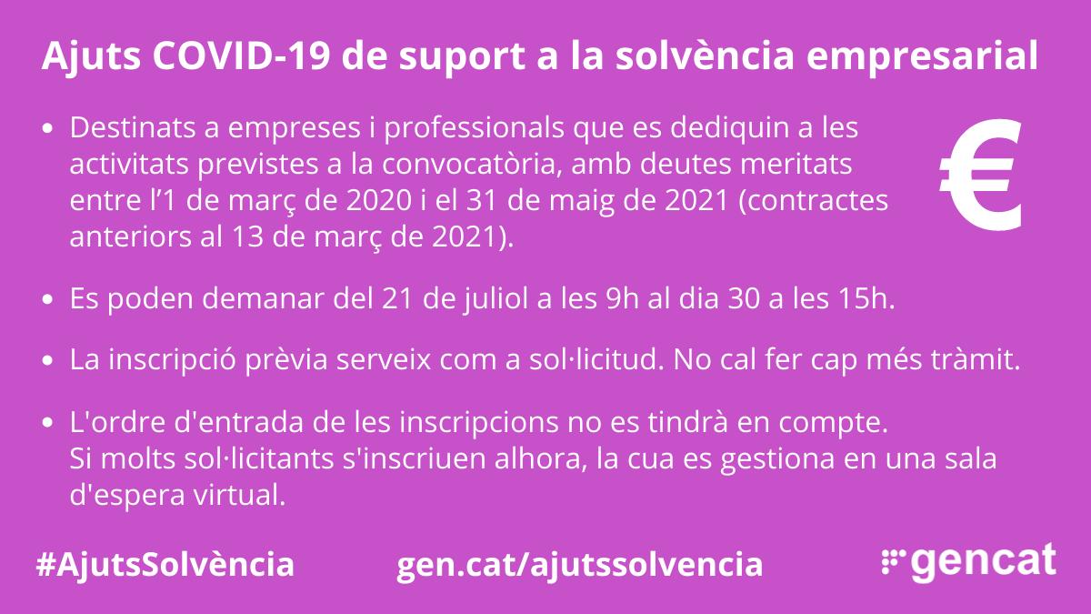 NOVA CONVOCATÒRIA D'INSCRIPCIÓ PRÈVIA ALS AJUTS DE SUPORT A LA SOLVÈNCIA EMPRESARIAL